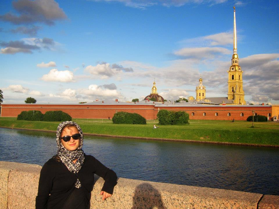 Eliana in front of Peter and Paul Fortress
